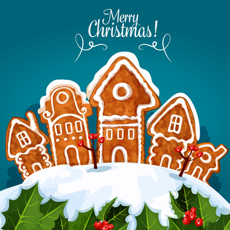 Merry Christmas celebration poster of vector gingerbread houses covered with snow, holly leaves with winter berries. Traditional new year baked gingerbread biscuit cookies