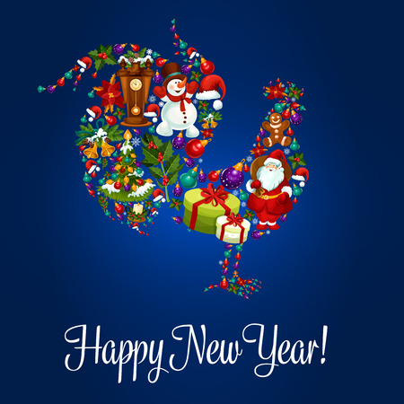 chinese holly: Happy New Year poster. Rooster cock 2017 new year symbol of christmas holiday santa gifts bag, snowman, reindeer sleigh, gingerbread man, poinsettia star flower, christmas decorations, cuckoo clock. Vector greeting card Illustration