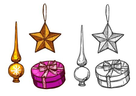 Christmas baubles ornaments. Isolated vector sketch icons of star, Christmas tree topper spire. New year gifts tied with ribbon Illustration