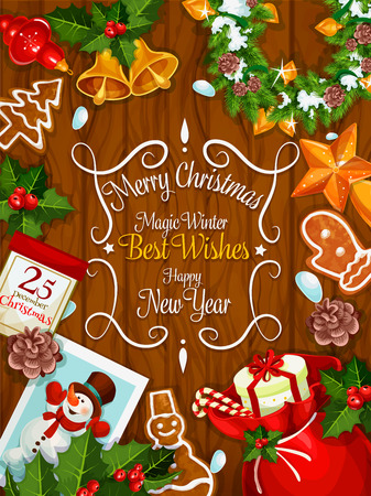 stars and symbols: Merry Christmas and Best Wishes congratulation poster. New Year greeting card with traditional symbols of christmas celebration. Vector Santa gift bag, gingerbread biscuits, stars, balls, bells, christmas holly and fir wreath, snowman