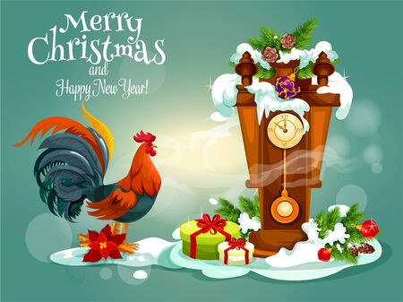cuckoo clock: Merry Christmas, New Year vector poster with red rooster cock, wooden retro pendulum cuckoo clock with chimes, christmas gifts, pine, fir and holly leaf wreath, bows, snow