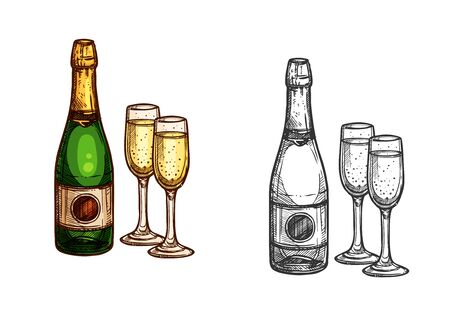 christmas symbol: New Year celebration champagne bottle with glasses. Vector color sketch isolated icons. Christmas holidays party symbol