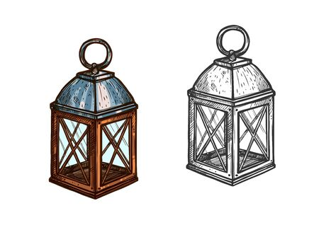 Christmas Lantern Retro Candle Light Lamp For New Year Celebration Isolated Vector Sketch