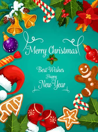 stars and symbols: Merry Christmas and New Year greeting card, poster. Best Wishes congratulations fro New Year and Christmas holidays celebration. Vector symbols of Santa gift bag, hat, mittens, christmas stocking, poinsettia flower, gingerbread man, stars, bells