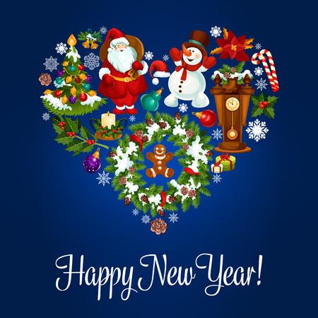 reloj cucu: Cartel feliz Año Nuevo. Símbolo del corazón del vector adornos de Navidad corona de acebo, de santa con bolsa de regalos, muñeco de nieve, hombre de pan de jengibre, flor de pascua flor de la estrella, copo de nieve, bastón de caramelo, el cono de abeto, reloj de cuco. Tarjeta de felicitación Vectores