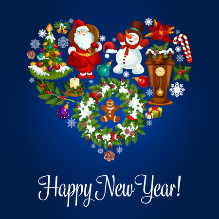 Happy New Year poster. Heart symbol of vector christmas ornaments holly wreath, santa with gifts bag, snowman, gingerbread man, poinsettia star flower, snowflake, candy cane, fir cone, cuckoo clock. Greeting card Illustration