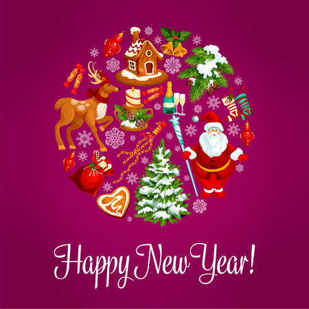 Happy New Year. Vector greeting card with round shape circle of winter christmas holiday symbols christmas tree ornaments, santa with gifts bag, reindeer, gingerbread house, holly wreath, snow, poinsettia star flower, snowflake, candy cane, fir cone, cloc