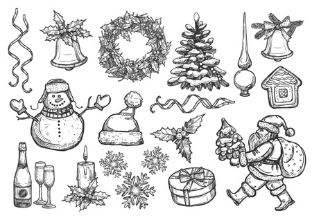spire: Christmas, New Year isolated sketch icons set. Vector santa with gifts bag, holly wreath, christmas tree ornament, topper spire, gingerbread house, snowflakes, bell with bow, ribbons, snowman, champagne glasses, candle, winter hat, mittens