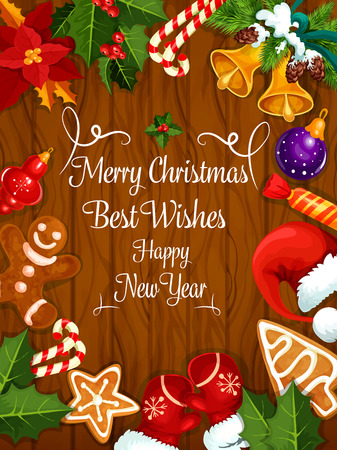 Merry Christmas greeting card, New Year best wishes poster with christmas tree ornaments, holly wreath, gingerbread, gifts bag, candle light, christmas stocking, gingerbread house, candy cane, baubles