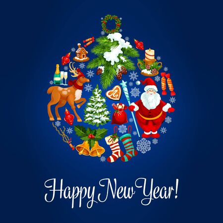 gingerbread house: Happy New Year vector poster, greeting card with symbol of ball ornament, santa in hat, reindeer, gifts, gingerbread house, stocking, holly wreath, poinsettia star flower, snowflake, bells, candy cane, fir cone Illustration