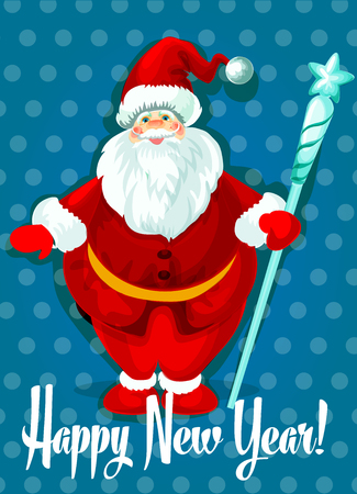 happy new year greeting isolated standing santa with white beard in traditional winter celebration clothing