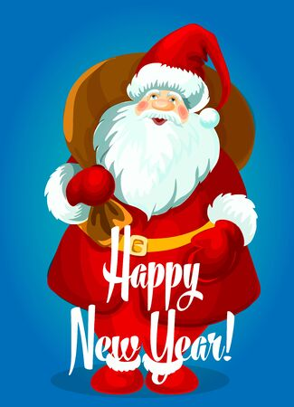 new year greeting: Happy New Year greeting card. Santa Claus with big gifts bag, standing and smiling in winter boots, mittens, red hat. Vector holiday poster