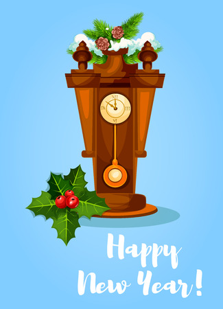 New Year vector greeting poster, card with retro wooden pendulum clock with chimes, holly bow ornament, pine, branches with fir cones under snow