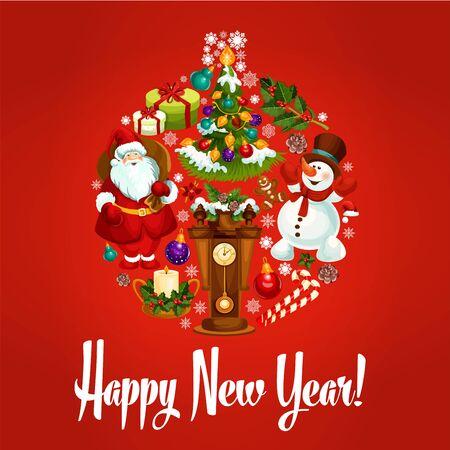 reloj de pendulo: ornamento de la bola feliz Año Nuevo del vector Santa, renos, regalos, presentes, reloj de péndulo, casa de pan de jengibre, almacenamiento, acebo guirnalda, abeto decorado, copo de nieve, campanas, bastones de caramelo. Tarjeta de felicitación del cartel