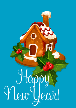 holiday house: New Year vector greeting poster. Gingerbread house bake biscuit with glazed snow, holly bow. Holiday greeting card