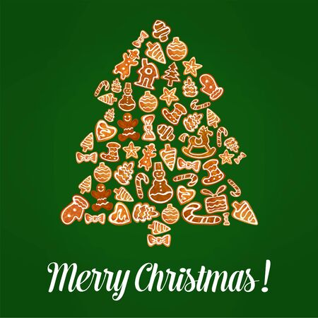 merry christmas poster vector gingerbread christmas tree of baked and glazed gingerbread biscuit shapes snowman