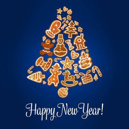 Happy New Year jingle bell symbol of gingerbread biscuits. Baked and glazed cookies of Santa Claus, snowflake, ornament ball, snowman, star, ball, house, bow, cone, bell, candy cane, heart