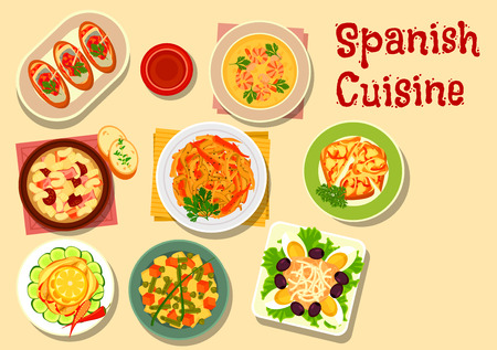 grilled vegetables: Spanish cuisine lunch icon with onion tapas, fish sandwich, grilled vegetables, shrimp soup, potato bean salad, sardine salad, bean soup with sausage, tuna salad with egg Illustration