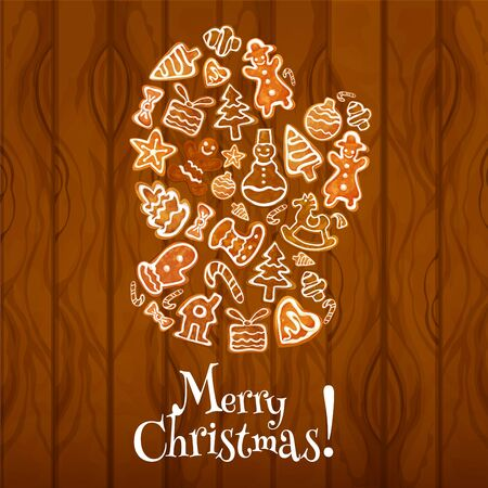 xmas star: Gingerbread santa glove on wooden background poster. Ginger cookie man, candy cane, xmas tree, star, gift box, snowman, stocking sock, bauble, house, mitten and bow. Christmas greeting card design