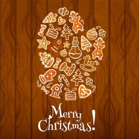galleta de jengibre: Pan de jengibre Papá guante en el fondo del cartel de madera. hombre de jengibre galleta, bastón de caramelo, árbol de navidad, estrella, caja de regalo, muñeco de nieve, la media del calcetín, chuchería, casa, manopla y el arco. diseño de la tarjeta de felicitación de Navidad Vectores