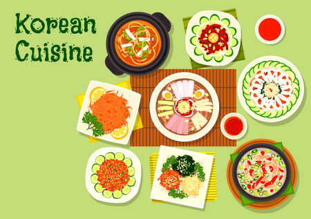 korean salad: Korean cuisine asian dishes icon with pyongyang cold noodles, kimchi pork soup, raw cod and beef hoe, marinated vegetable salad, duck soup, dried fish, bean jelly salad