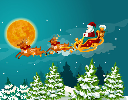 claus: Christmas greeting card with santa sleigh. Santa Claus in sleigh with reindeer flying in the night sky over snowy forest landscape with pine and fir tree. Christmas And New Year theme design