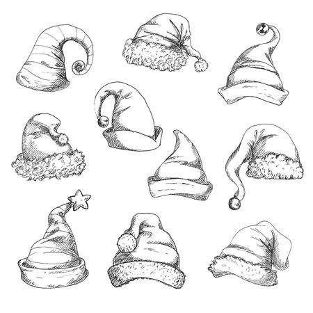 Chapeaux de Santa vector icônes de croquis au crayon. Éléments de décoration de Noël et de nouvel an Banque d'images - 66209744