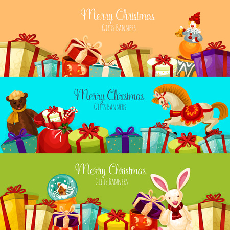 year of the rabbit: Christmas gift and toy banner set. Present boxes with bow and ribbon, santa bag with candy cane, plush bear and rabbit, snow globe, rocking horse and clown with bell. Xmas and New Year theme design Illustration