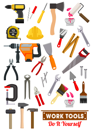 industry design: Work tools icons set with hammer and spanner, screwdriver, wrench, pliers, saw, measuring tape and axe, paint roller, brush, drill and spatula, nail and screw, trowel. Carpentry and building industry design