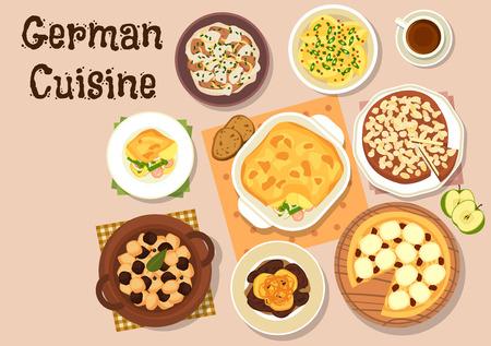 sour cream: German cuisine icon with berliner pork liver with apple, mustard potato, beef stew with sour cream, vegetable sausage casserole, pork kidney beef stew, apple pie and cheesecake Illustration
