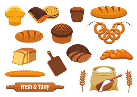 rye bread: Bread isolated icon set with wheat and rye bread, long loaf, baguette, croissant, cupcake, sweet bun, toast, bagel, cookie, glazed roll, flour bag, cereal ear, rolling pin and cutting board Illustration