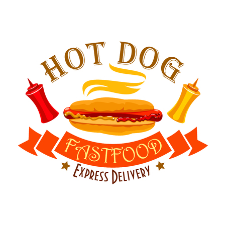 sauces: Hot dog sign of fast food sandwich with sausage, ketchup and mustard sauces in wheat bun, ribbon banner and text Express Delivery Illustration