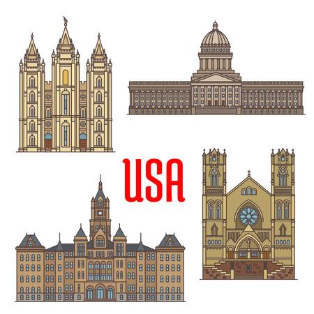 Travel bezienswaardigheden van de VS dunne lijn icoon. reizen Amerikaanse Utah bezienswaardigheden icoon met Salt Lake City en County Building, de kathedraal van de Madeleine, Utah State Capitol en de Tempel van Salt Lake