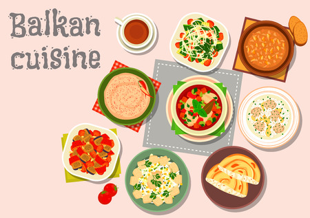garlic bread: Balkan cuisine dinner icon with paprika cheese spread, garlic nut sauce, baked vegetable salad, meatball rice soup, fish soup, vegetable salad, fish egg salad, cheese pie