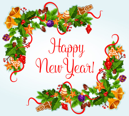 new year greeting: 2017 New Year greeting card with border or frame of holly berry, pine, fir garland, ribbons, jingle bell and baubles, holiday decorations
