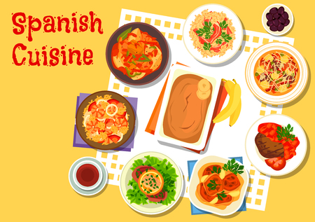 rice wine: Spanish seafood and meat dishes icon with sausage soup, seafood paella, rice with gammon, beef schnitzel with salmon, chicken in sherry sauce, tuna potato stew, garlic beef steak, banana pudding