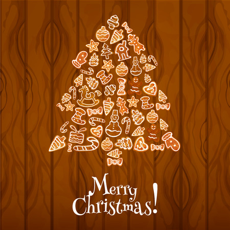 xmas star: Gingerbread Christmas tree greeting card. Traditional glazed ginger cookie in shape of candy cane, xmas tree, man, star, bow, sock, bauble ball, house, glove, heart, horse on wooden background Illustration