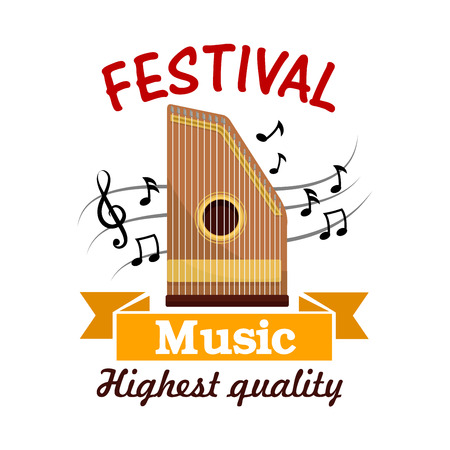 adorned: Music cartoon sign of isolated folk stringed musical instrument zither with note and treble clef on stave, adorned by ribbon banner. Ethnic music festival, musical instrument theme design Illustration