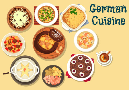 cheese cake: German cuisine beer and cheese fondue icon served with cabbage soup in rye bread, cabbage and sausage soup with mushroom, beef stew, christmas cake stollen, hamburg potato pie, chocolate cherry cake