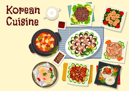 starch: Korean cuisine traditional grilled beef bulgogi icon with pork ribs in soy sauce, beef stew in daikon pot, blood sausage, starch noodle with beef, spinach shrimp, baked trout, pork tofu soup