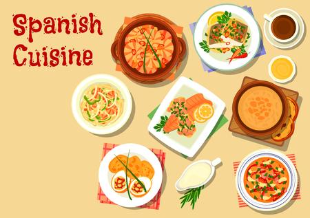 Cuisine espagnole de fruits de mer nouilles icône servi avec crevettes à l'ail, soupe de tomate gaspacho, soupe à l'ail, ragoût de haricots au chorizo ??et le jambon, la truite ragoût avec du jambon, oeuf farci à la saucisse
