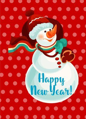 palle di neve: Nuovo pupazzo di neve anno con biglietto di auguri sacchetto regalo. Pupazzo di neve in rosso a maglia cappello, sciarpa e guanti in possesso di sacco con il regalo di Natale. Felice Anno Nuovo Poster Design Vettoriali