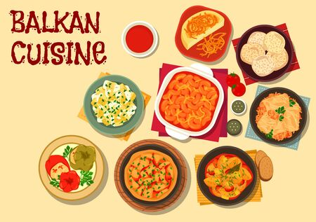 meringue: Balkan cuisine vegetarian dishes icon with bean stew, cabbage roll, baked bean, polenta, potato stew, pepper with brinsen cheese, zucchini with sour cream, vegetable omelette, almond meringue Illustration