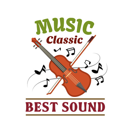 radio station: Classic music badge of violin and bow with notes swirling around. Music concert, festival, record studio, radio station symbol design