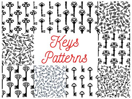 forge: Vintage key seamless pattern set of old door key and victorian skeleton, decorated by gothic floral ornament. Interior accessory, scrapbook page backdrop design