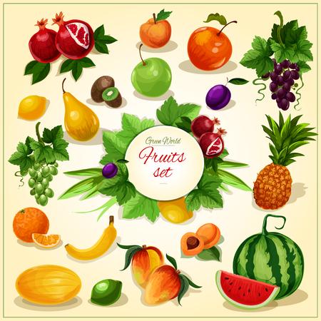 grape fruit: Ripe fruit with leaves poster of juicy apple, banana, orange, grape, mango and pineapple, plum and peach, pear, lemon, watermelon, apricot and kiwi, pomegranate and melon Illustration