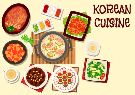Korean cuisine traditional kimchi vegetables dishes icon with seafood soup, spicy daikon, cucumber cilantro salad, marinated fish with radish, sweet rice dessert with nut and date Illustration