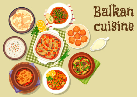 cream cheese: Balkan cuisine meat dishes icon with pepper pork stew, beef stew with cheese, baked fish with vegetables, lamb potato stew, chicken in sour cream, cold soup tarator, chicken stew, cheese donut