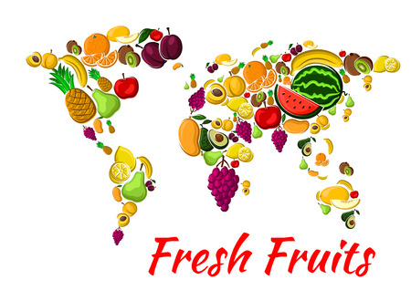 grape fruit: Fruit world map with fresh orange, banana, apple, mango, lemon and grape, pineapple and peach, plum and kiwi, pear, apricot and avocado, watermelon. Farming food, vegetarian nutrition design