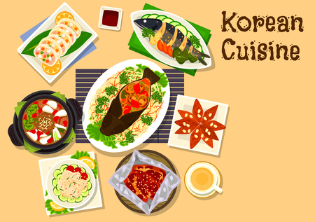 korean salad: Korean cuisine seafood dinner with dessert icon with steamed carp with vegetables, scallop salad, baked eel, fried mackerel, spicy beef soup, stuffed squid, ginger cookie with honey